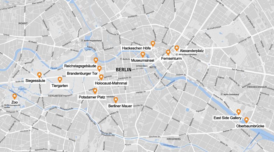 Infografik Berlin Sehenswürdigkeiten Karte