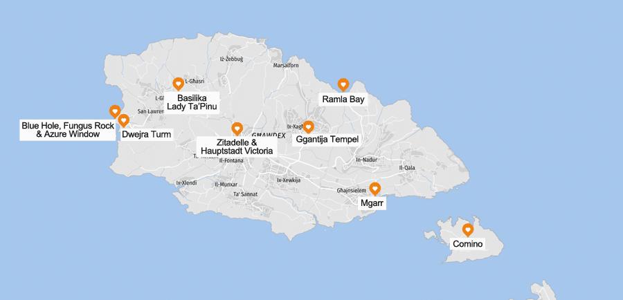 Infografik Gozo Sehenswürdigkeiten, Karte