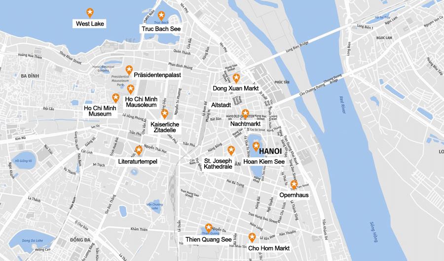 Infografik Hanoi: Sehenswürdigkeiten Karte
