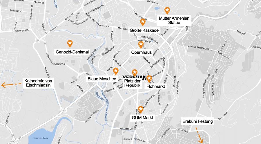 Infografik Jerewan: Sehenswürdigkeiten Karte