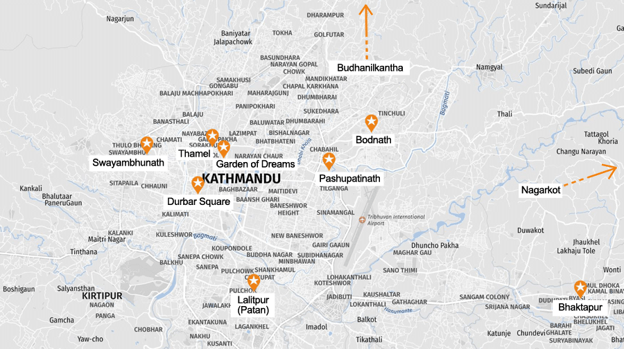 Infografik Kathmandu: Sehenswürdigkeiten Karte