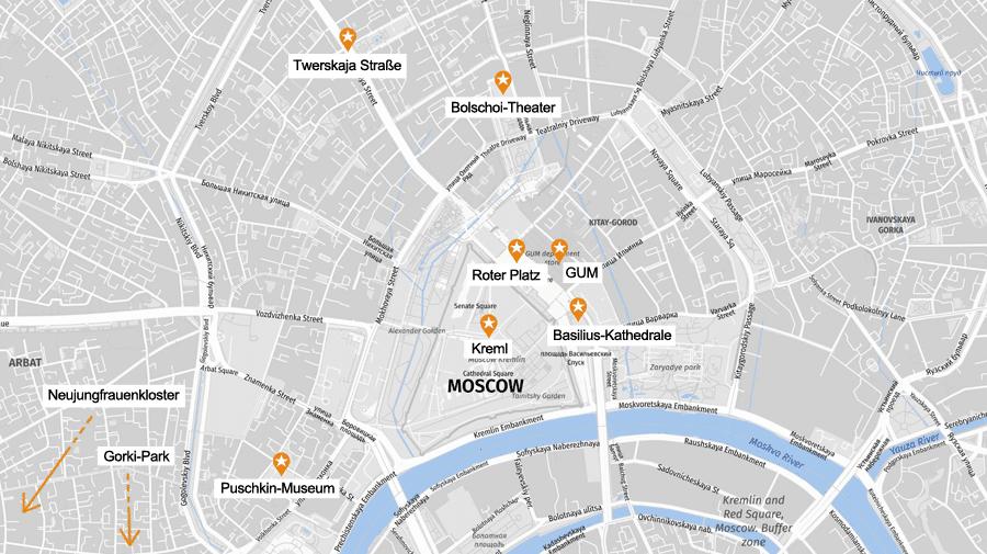 Infografik Moskau: Sehenswürdigkeiten Karte