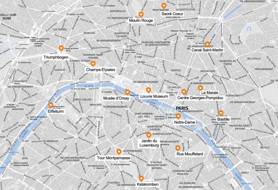 Infografik Paris Sehenswürdigkeiten, Karte