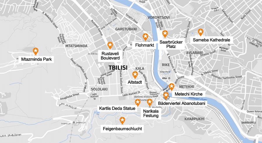 Infografik Tiflis: Sehenswürdigkeiten Karte