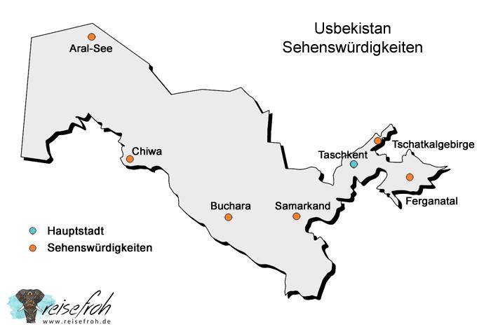 Infografik Usbekistan Sehenswürdigkeiten