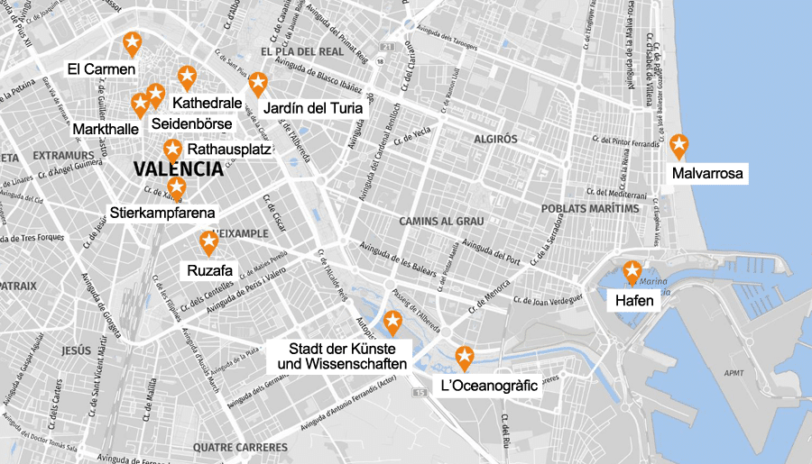 Infografik Valencia: Sehenswürdigkeiten Karte