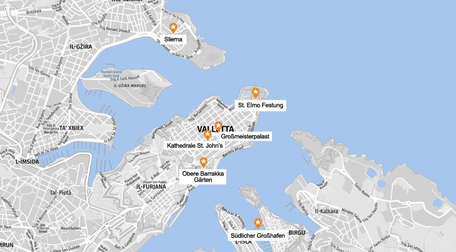 Infografik Valletta: Sehenswürdigkeiten Karte