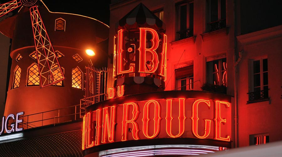 Moulin Rouge, Pigalle, Paris bei Nacht