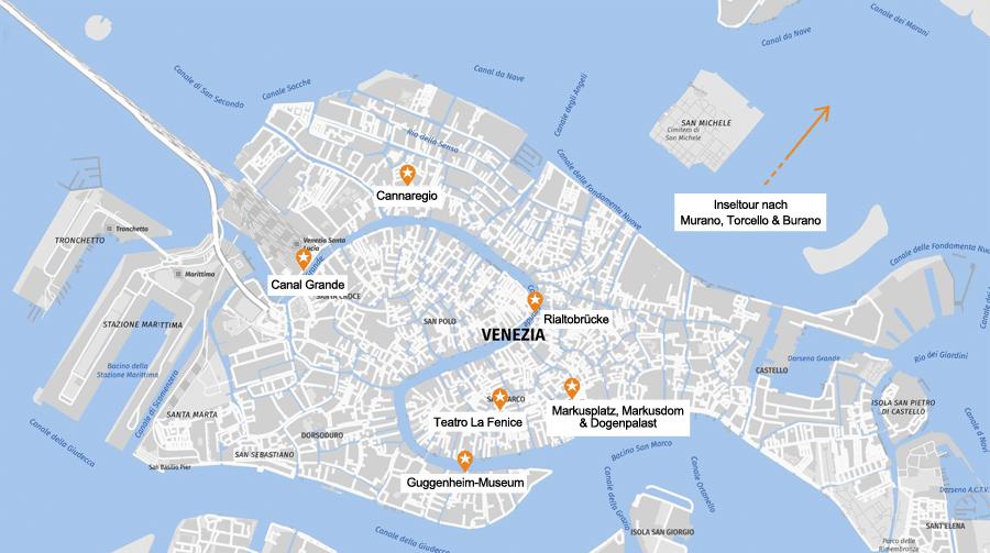Infografik Venedig: Karte Sehenswürdigkeiten