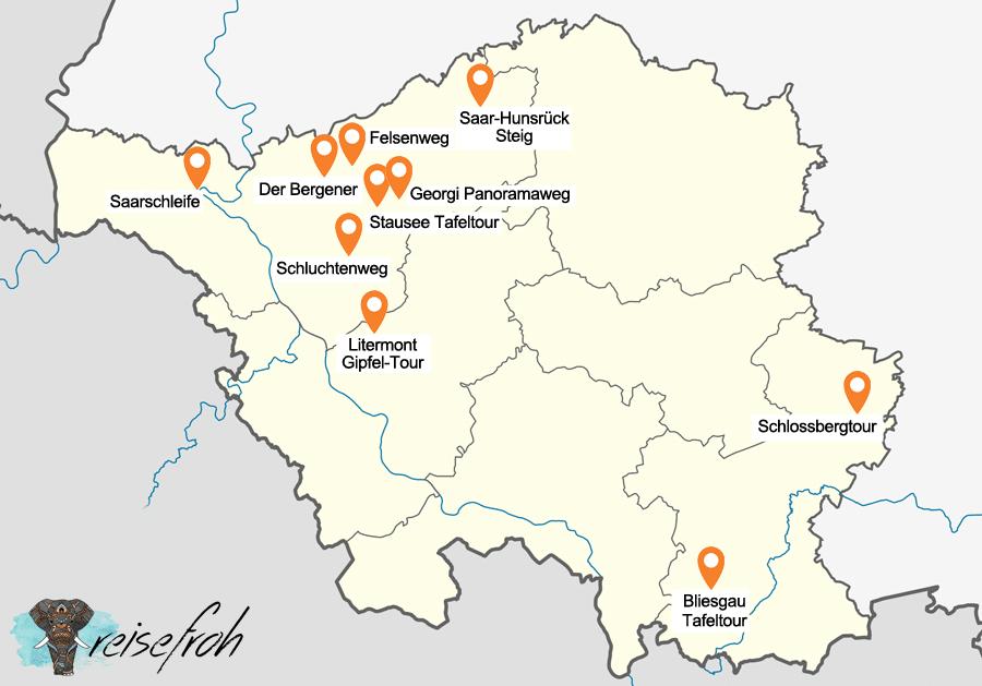 Infografik: Wanderwege Saarland, Karte