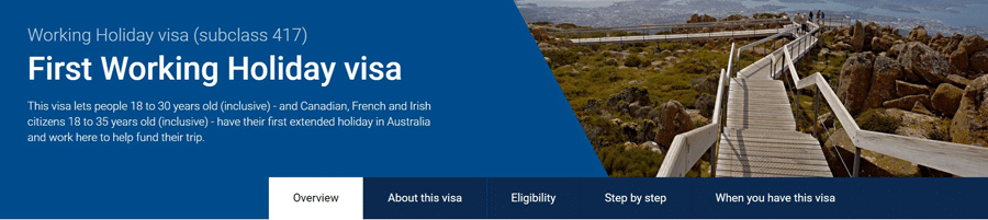 First Working Holiday Visa Australia, Subclass 417