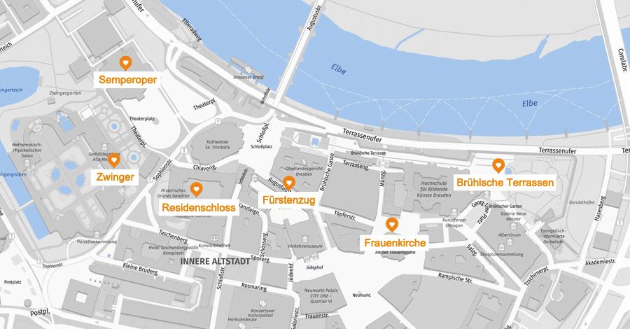 Infografik: Dresden Sehenswürdigkeiten Altstadt, Karte
