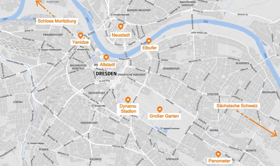 Infografik: Dresden Sehenswürdigkeiten, Karte