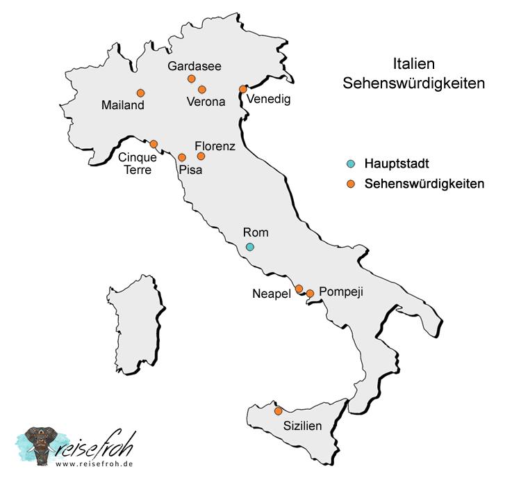 Infografik: Italien Sehenswürdigkeiten, Karte