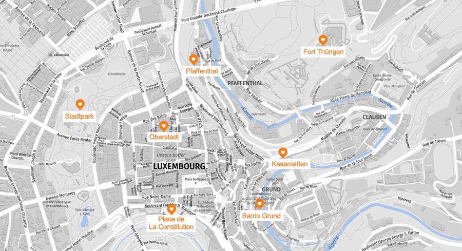 Infografik: Luxemburg Sehenswürdigkeiten, Karte