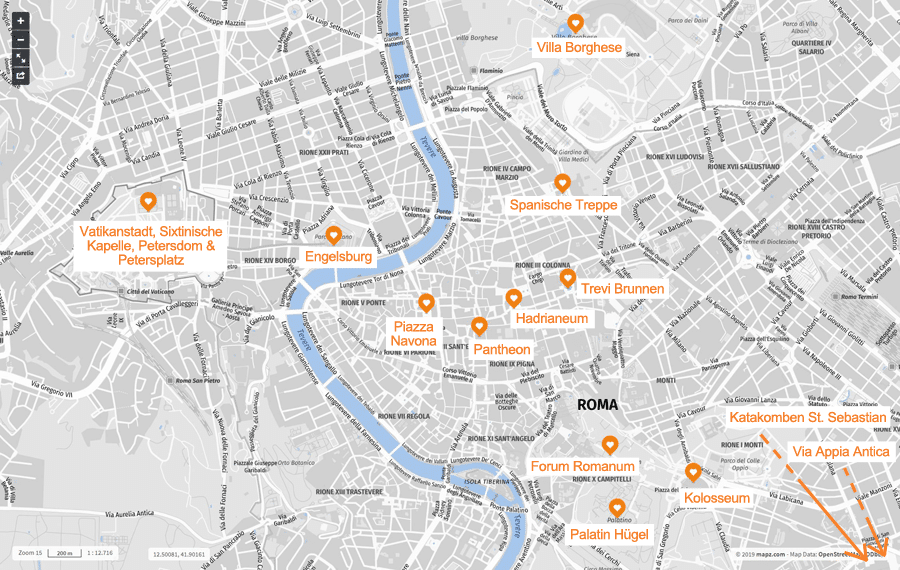 Infografik: Rom Sehenswürdigkeiten, Karte