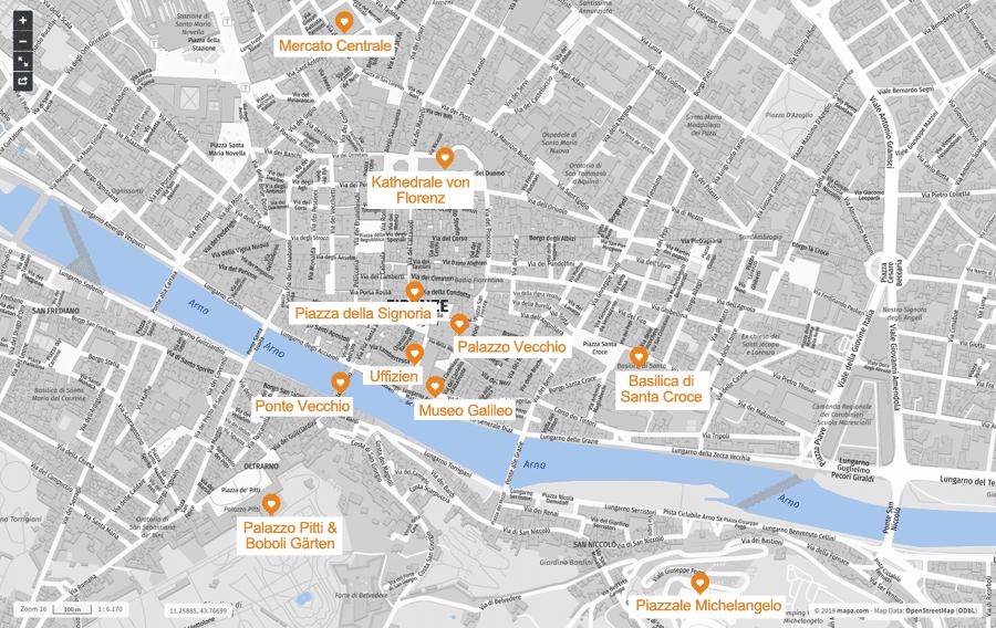 Infografik: Florenz Sehenswürdigkeiten, Karte