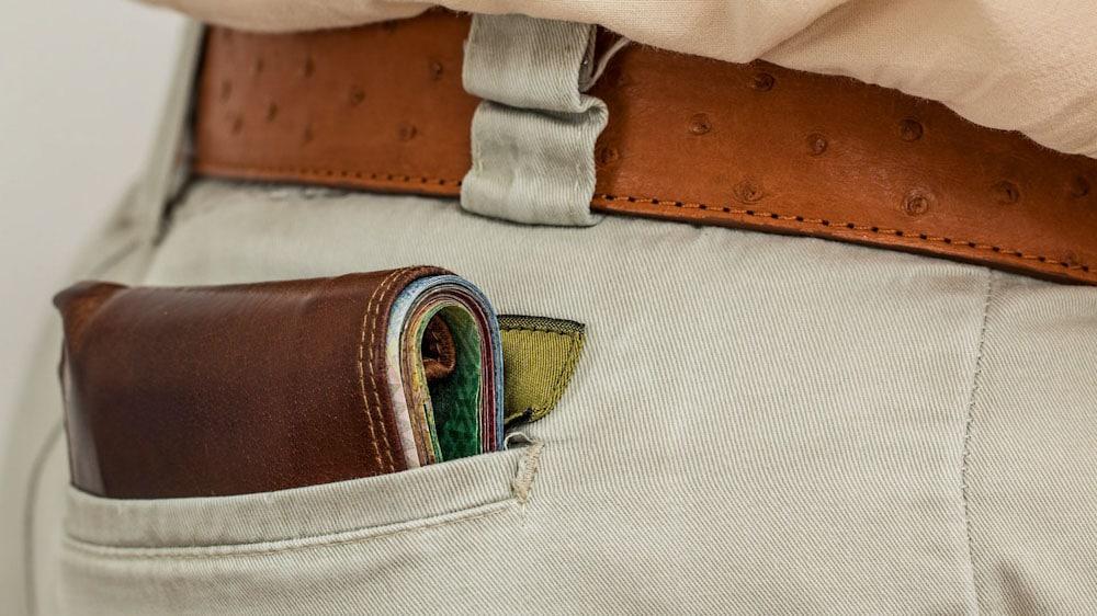 Anti-Diebstahl Rucksack: Brieftasche in der Hose