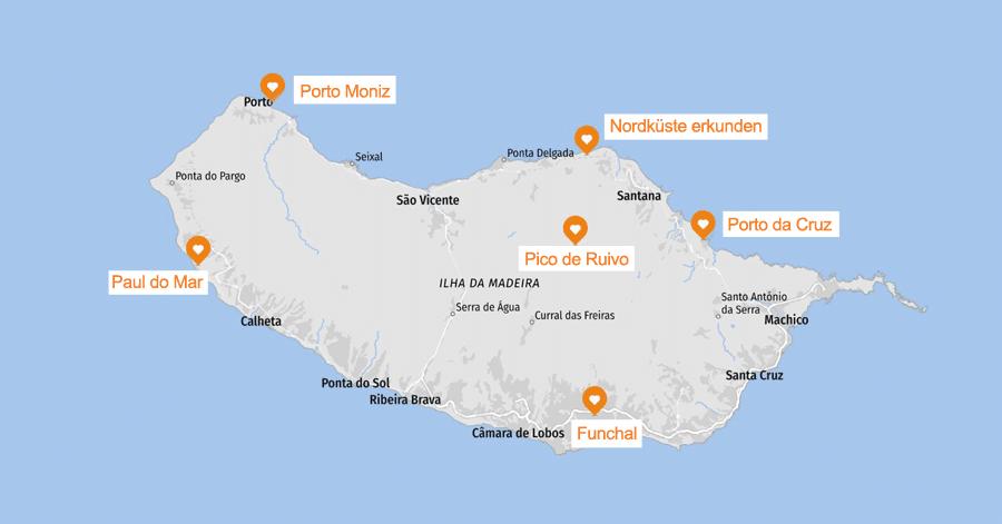 Infografik: Madeira Sehenswürdigkeiten Karte