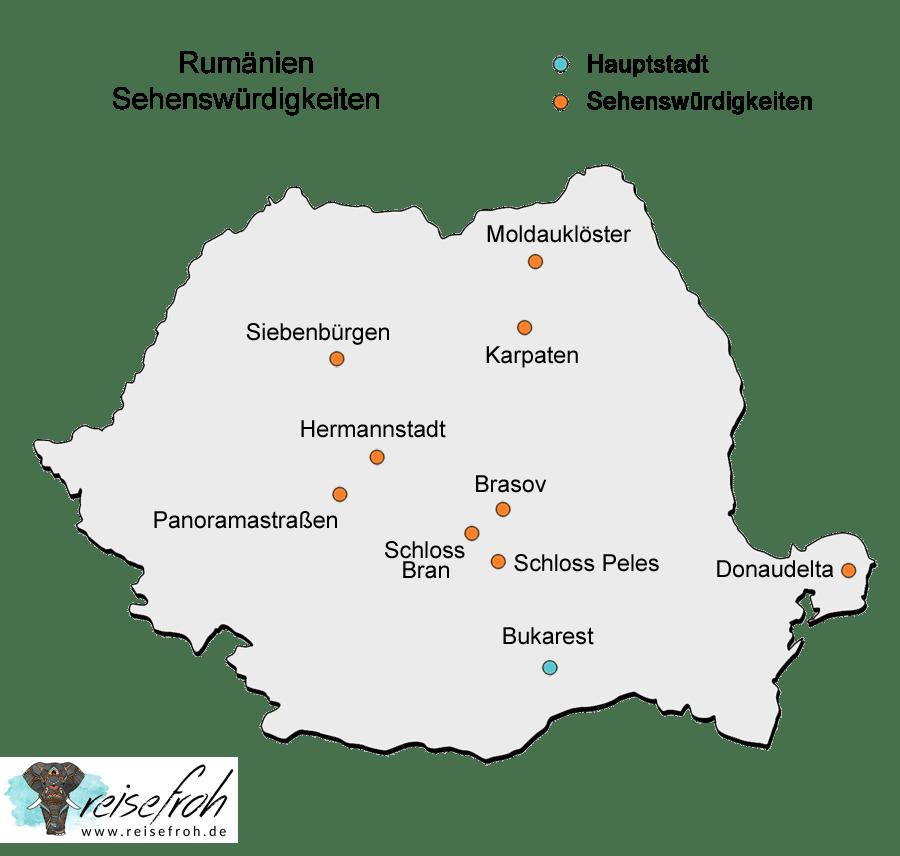 Rumänien Sehenswürdigkeiten: Infografik, Karte