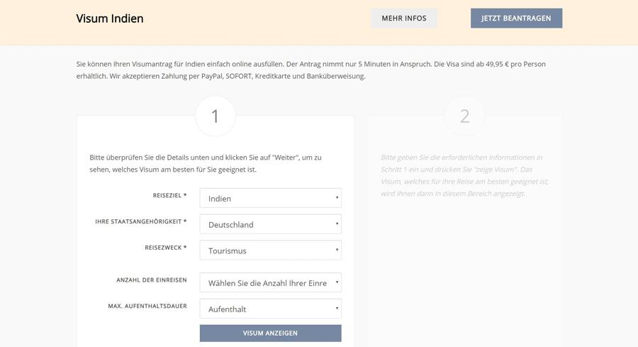Indien Visum online beantragen bei e-visums.de