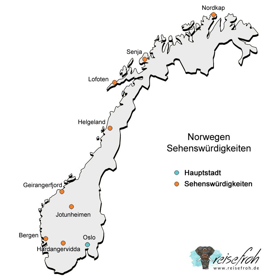 Infografik: Norwegen Sehenswürdigkeiten Karte