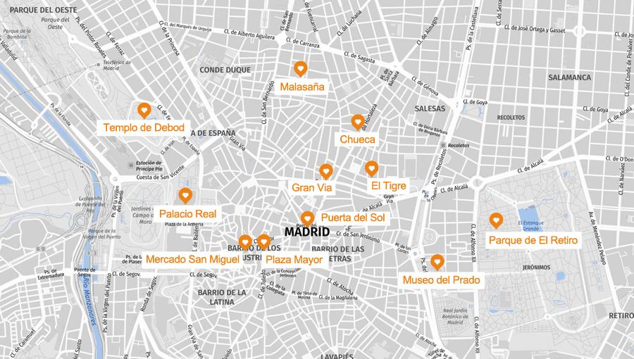 Infografik: Madrid Sehenswürdigkeiten Karte