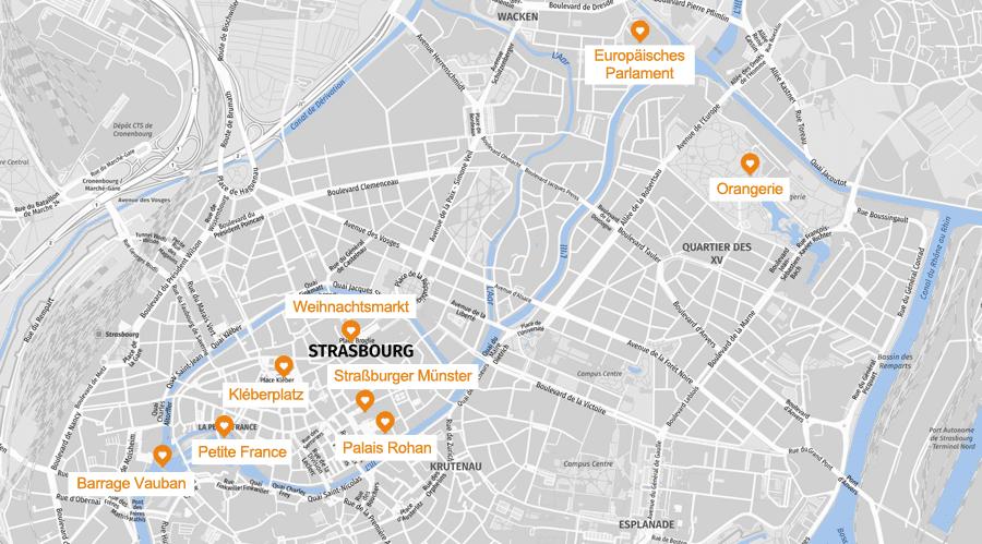 Infografik: Straßburg Sehenswürdigkeiten Karte