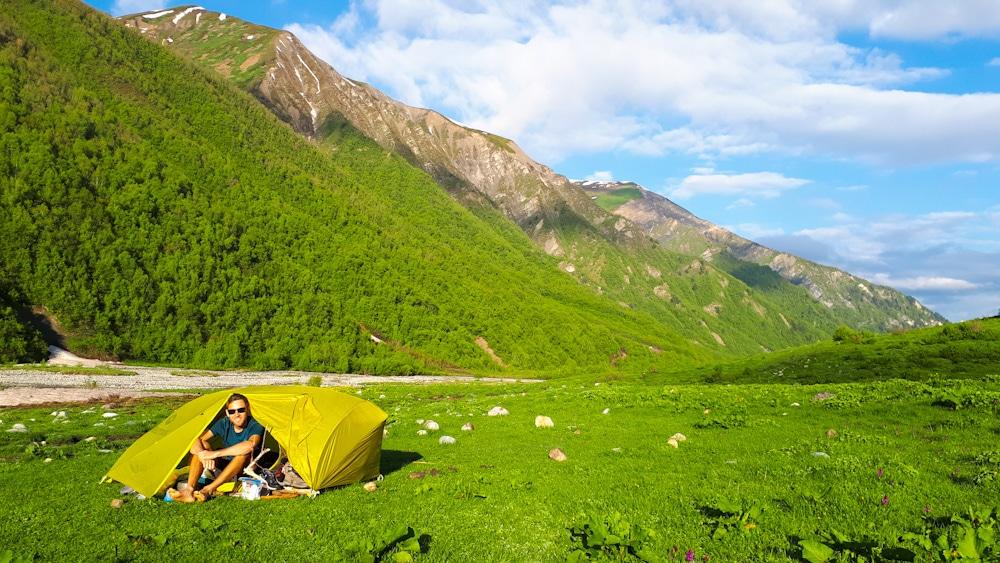 Zelten auf dem Weg von Mestia nach Uschguli