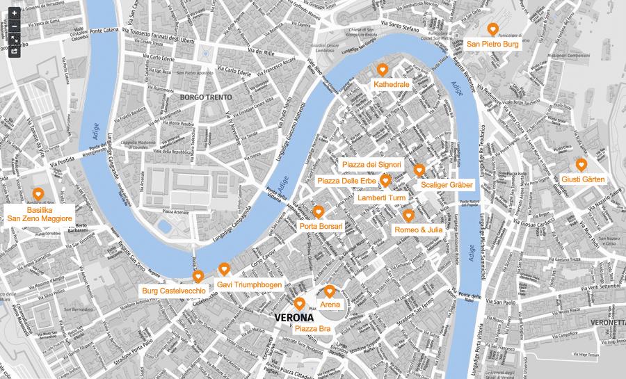 Verona Sehenswürdigkeiten Karte, Infografik