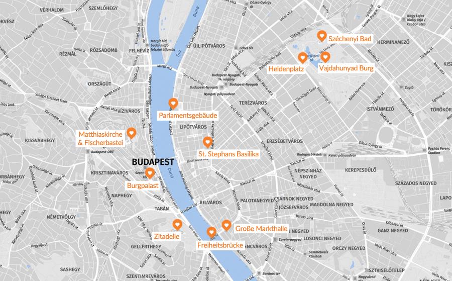 Infografik: Budapest Sehenswürdigkeiten Karte