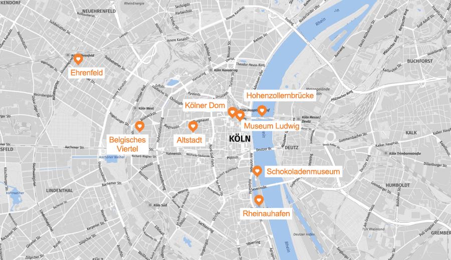 Infografik: Köln Sehenswürdigkeiten Karte