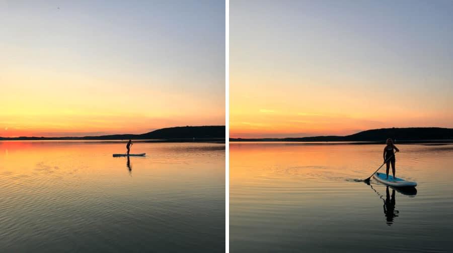 Stand up Paddling im Sonnenuntergang auf dem See