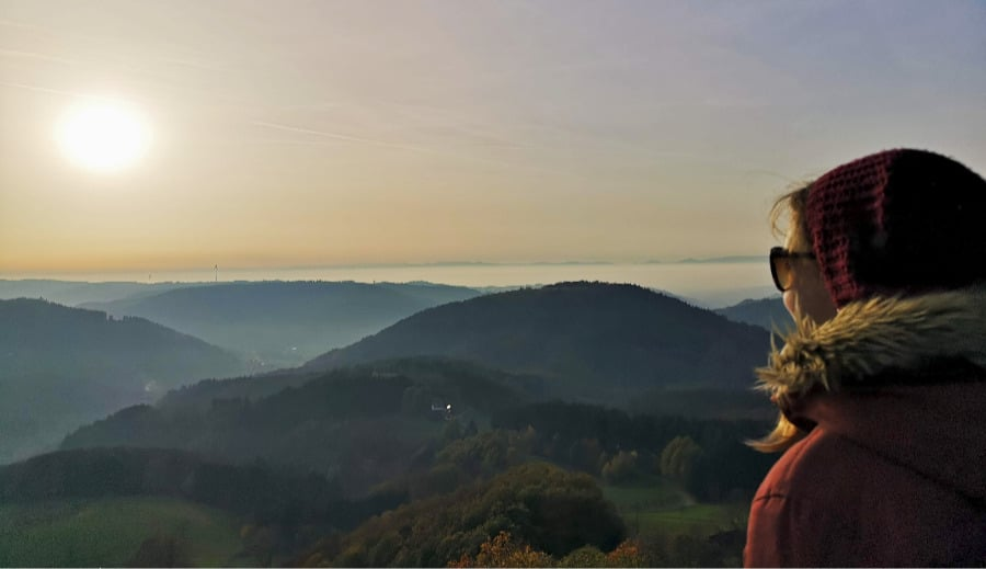 Schwarzwald wandern: Sonnenuntergang Hohengeroldseck