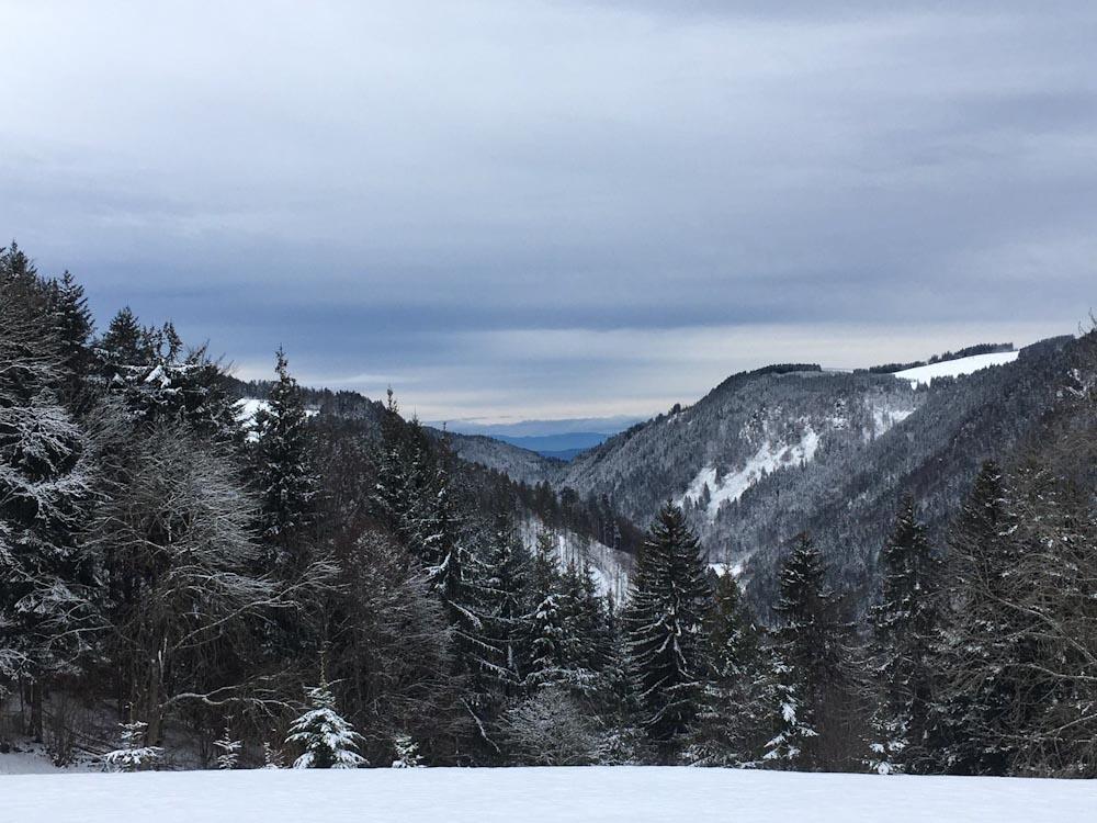 Blick über die Wälder des Schwarzwalds bei Winterwanderung